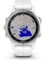 Garmin Garmin fenix 5S Plus Saffier - GPS activity tracker - 42 mm - wit / witte siliconenband koopjeshoek