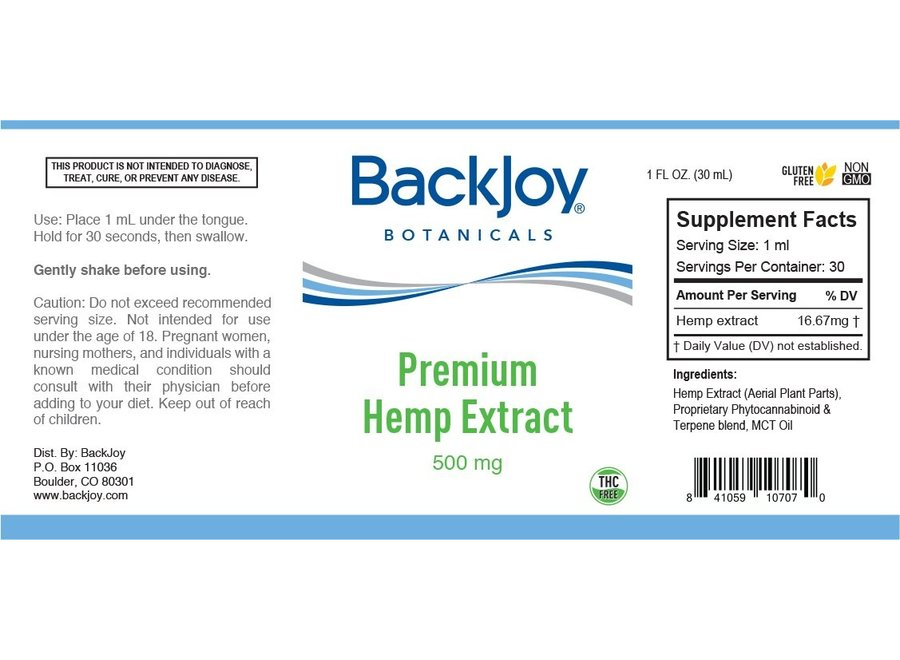 Premium Hennep olie extract 500mg by BackJoy Botanicals