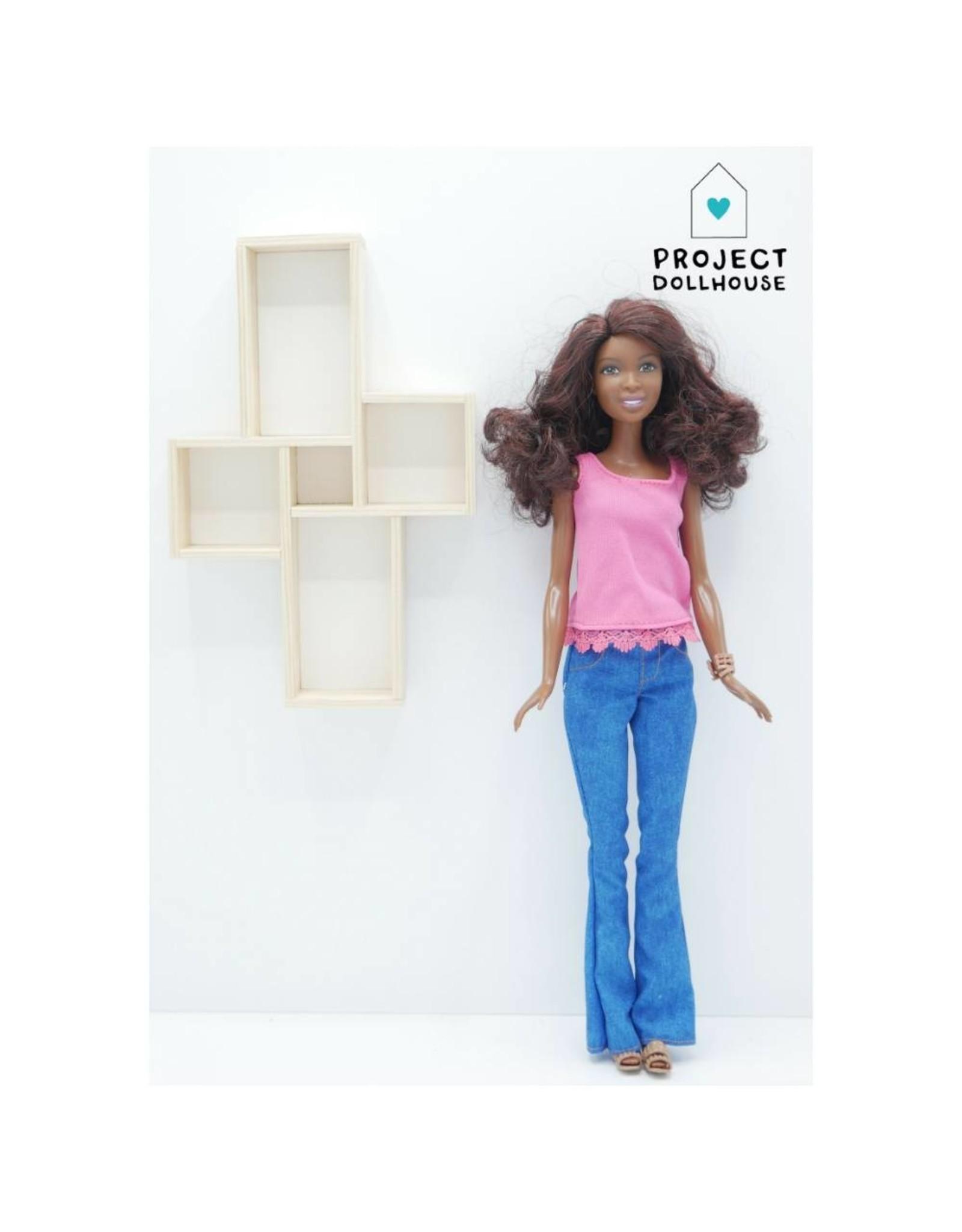 Project Dollhouse Wandmeubel Vier Vakken Barbie