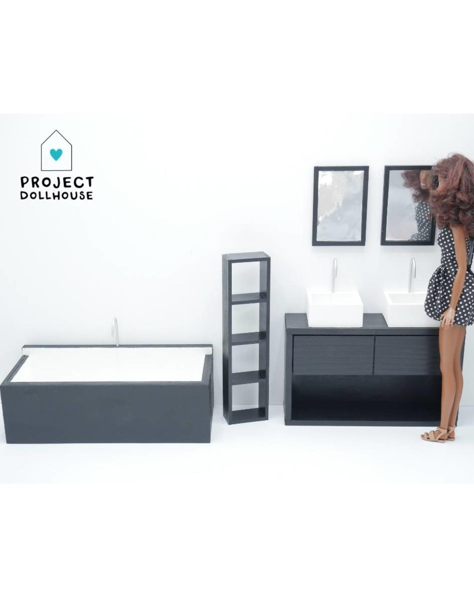 Project Dollhouse Bathroom Black Barbie