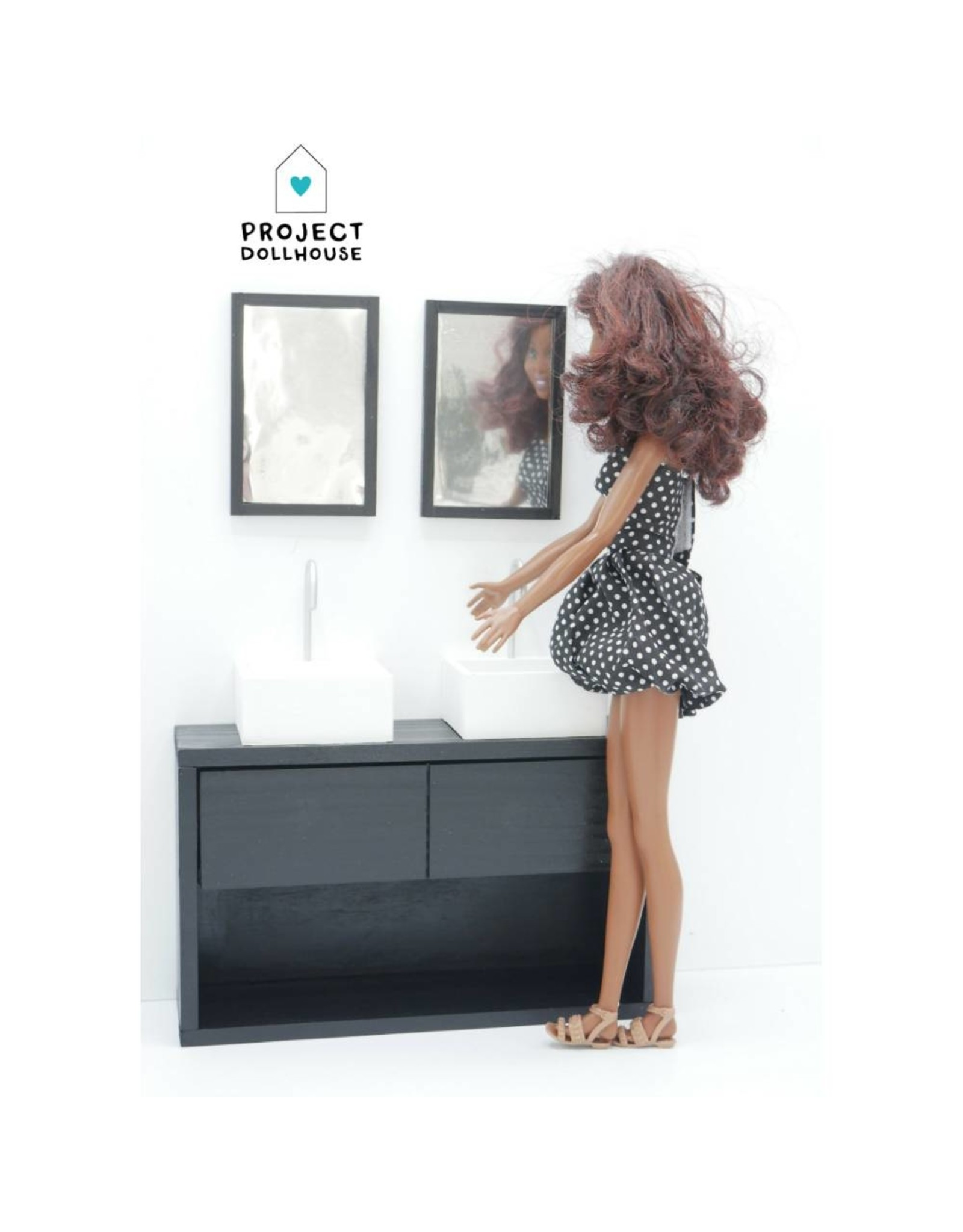 Project Dollhouse Badkamer Zwart Barbie
