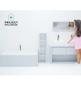 Project Dollhouse Bathroom Grey Barbie