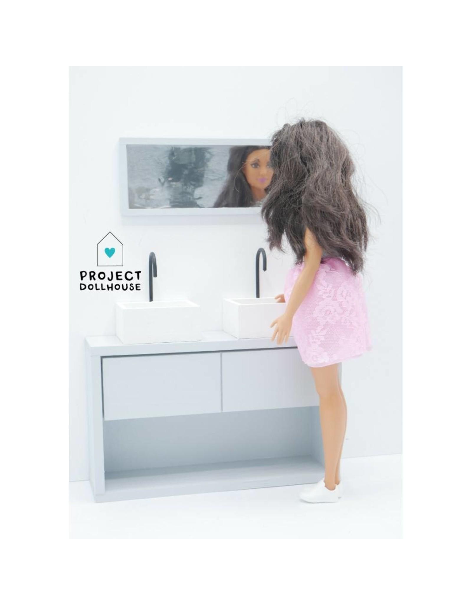 Project Dollhouse Badkamer Grijs Barbie