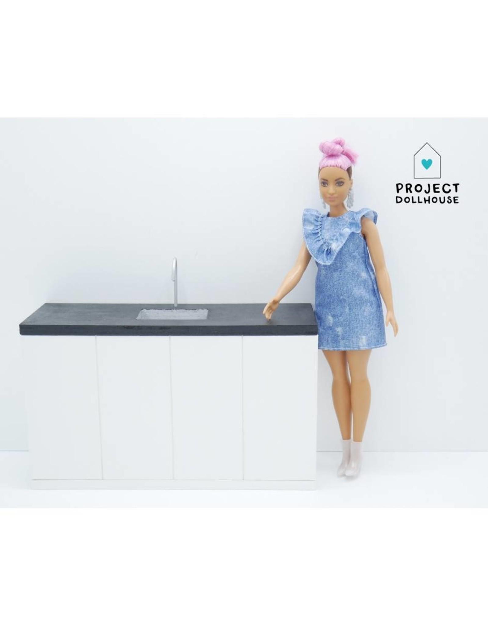 Project Dollhouse Barbie Kitchen Black Countertop