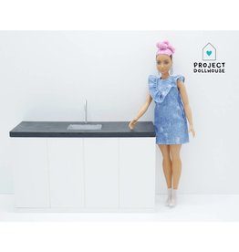 Project Dollhouse Barbie Kitchen Black Countertop