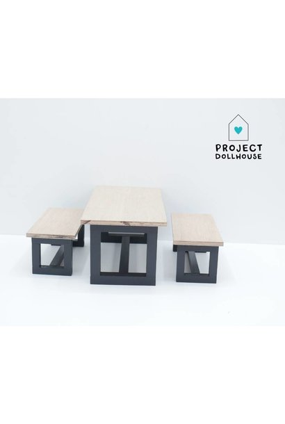 Barbie Dining table with Benches Black