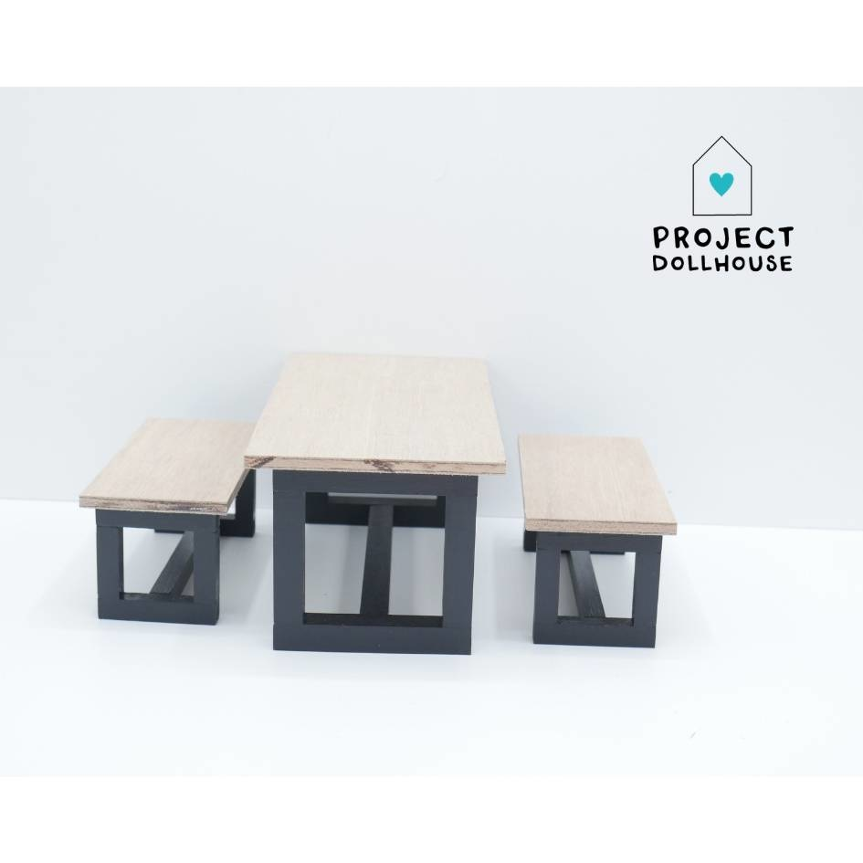Barbie Dining table with Benches Black-1