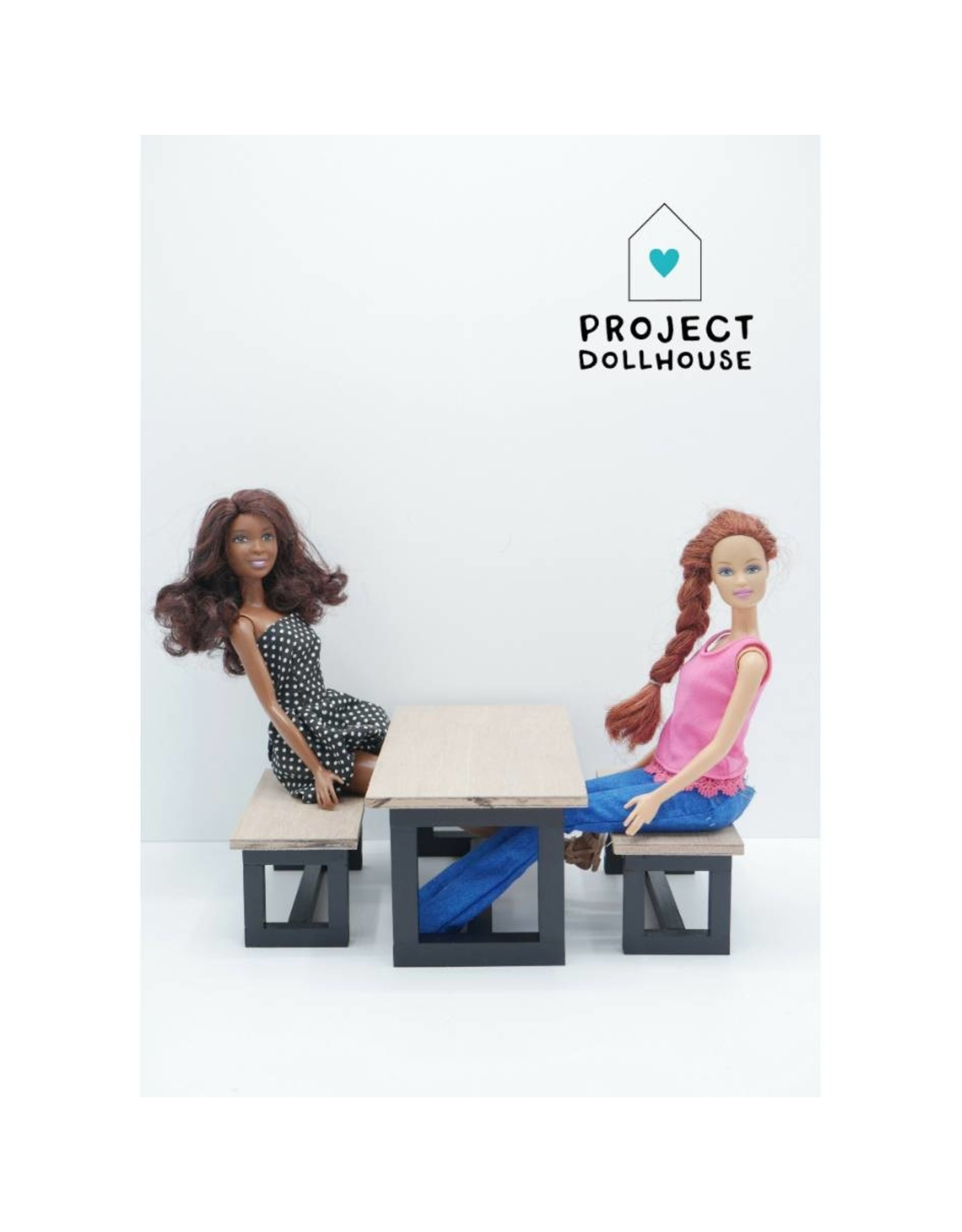 Project Dollhouse Barbie Eettafel met Bankjes Zwart