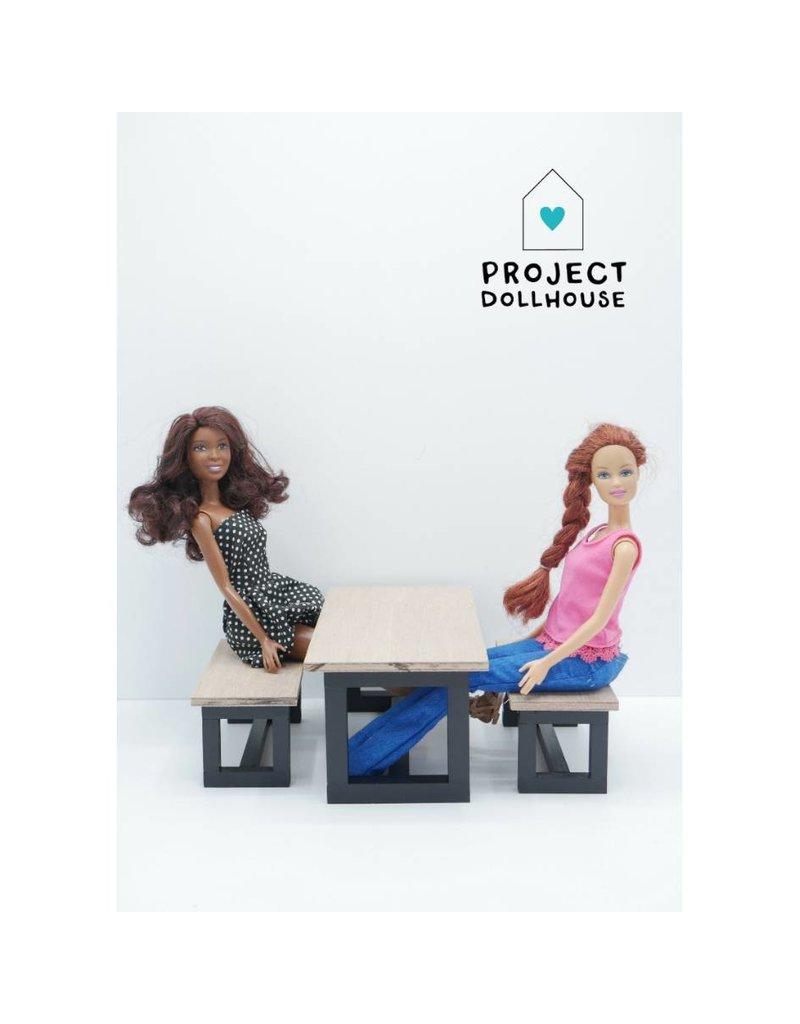 Project Dollhouse Barbie Eettafel met Bankjes Zwart