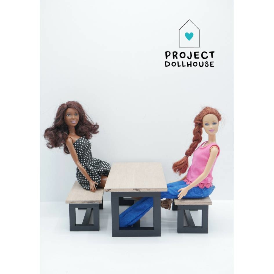 Barbie Dining table with Benches Black-2