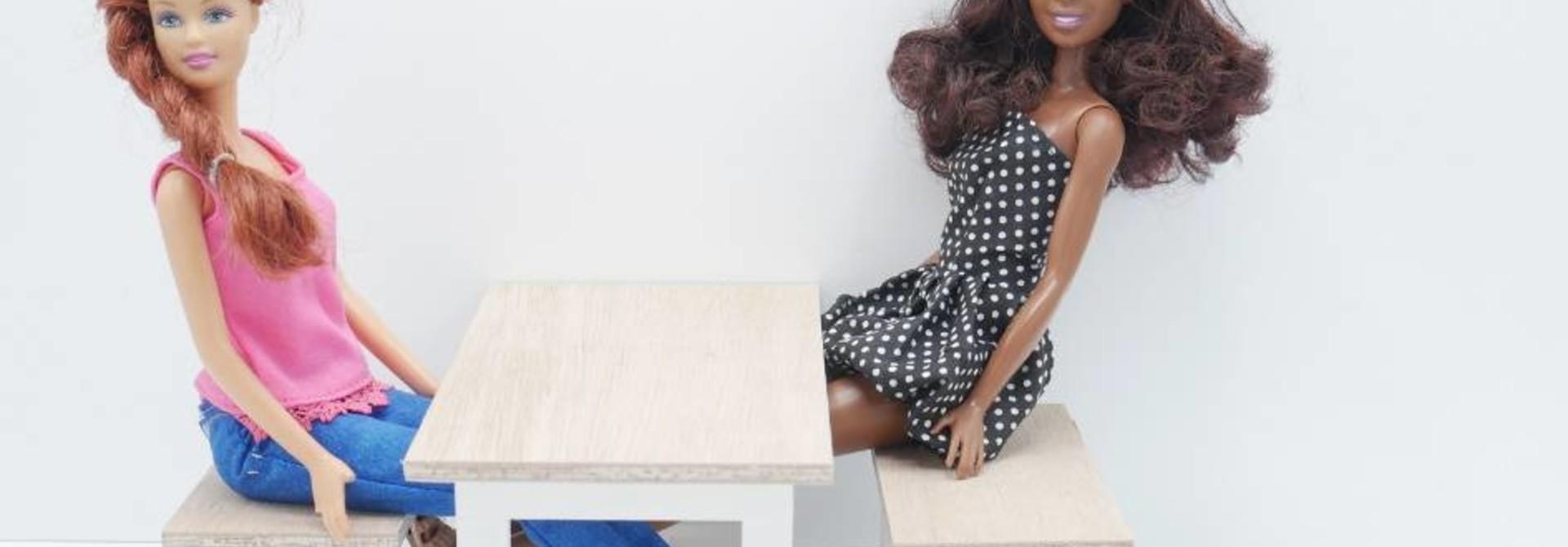 Barbie Eettafel met Bankjes Wit