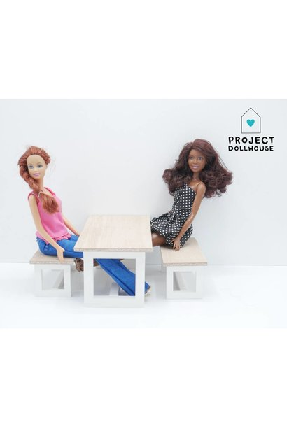 Barbie Dining table with Benches White