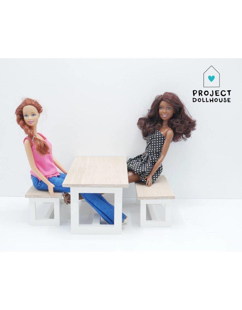 Project Dollhouse Barbie Eettafel met Bankjes Wit