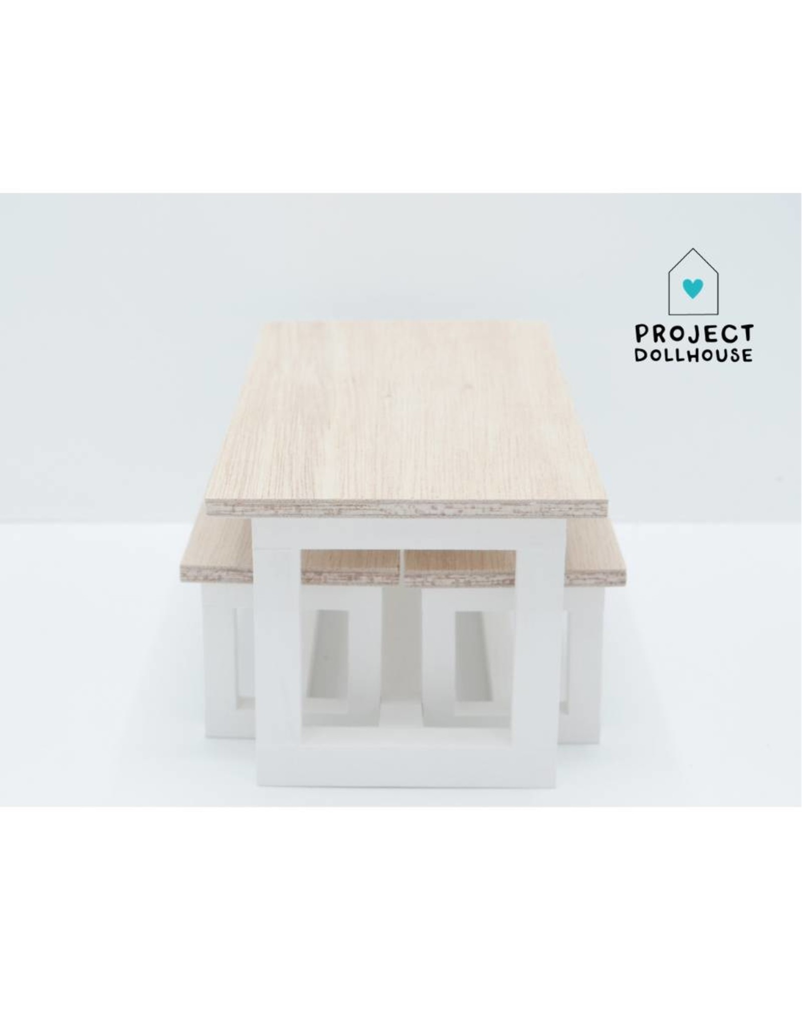 Project Dollhouse Barbie Dining table with Benches White