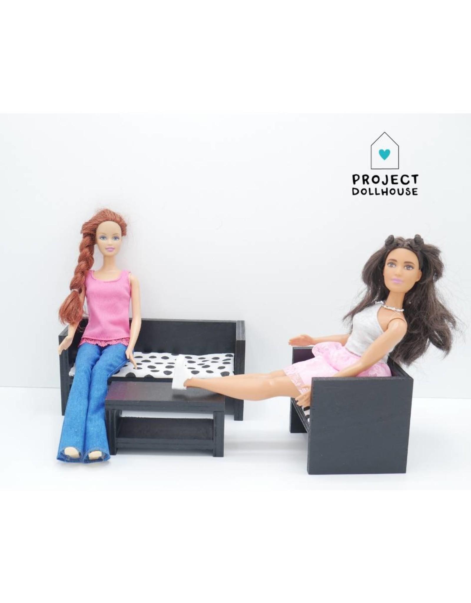 Project Dollhouse Barbie Zitkamer Zwart