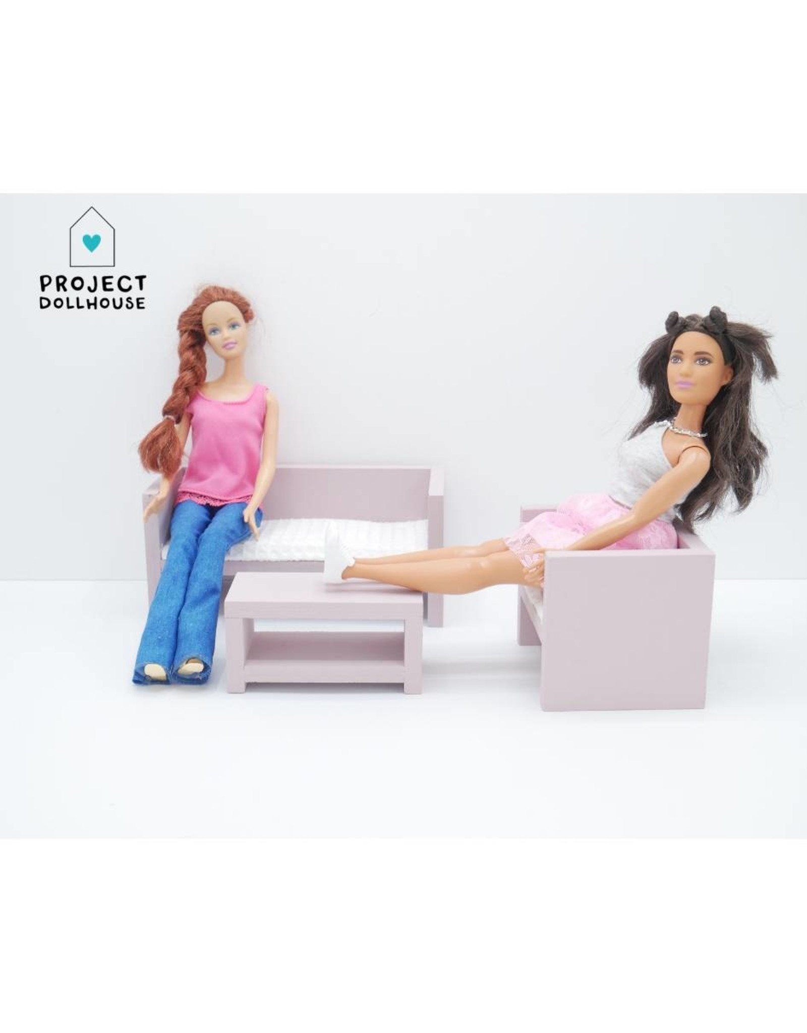 Project Dollhouse Barbie Zitkamer Oud Roze