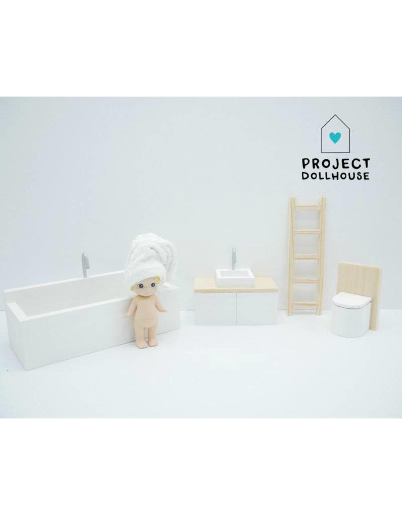 Project Dollhouse Badkamer Hout & Wit