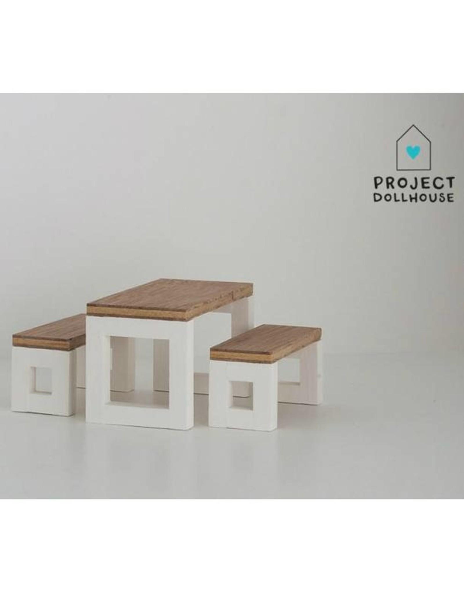 Project Dollhouse Moderne Eettafel Set Wit Onderstel