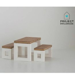 Project Dollhouse Moderne Eettafel Set Wit Onderstel