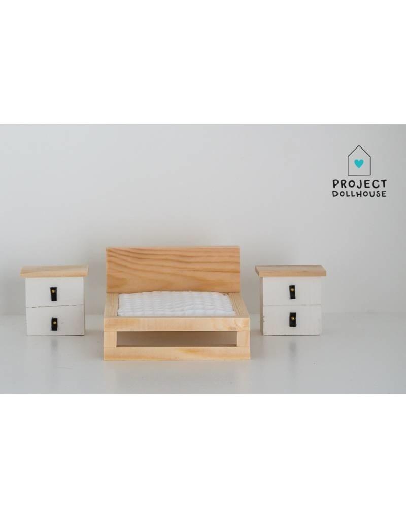 Project Dollhouse Nachtkastjes Set Wit/Hout