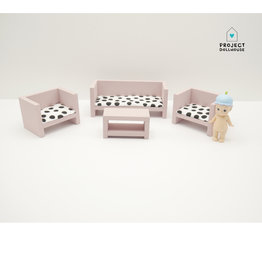Project Dollhouse Modern Lounge Set Closed Old Pink