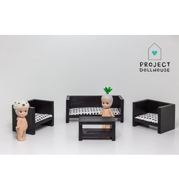 Project Dollhouse Zitkamer set Dicht Zwart