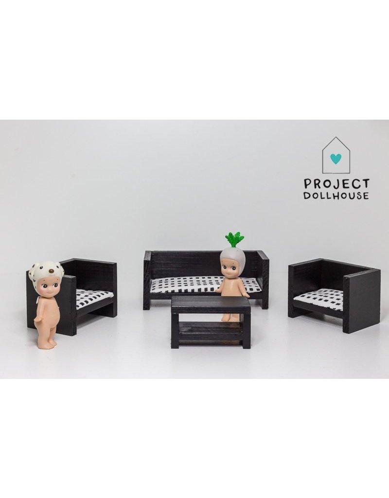 Project Dollhouse Zitkamer set Dicht Zwart