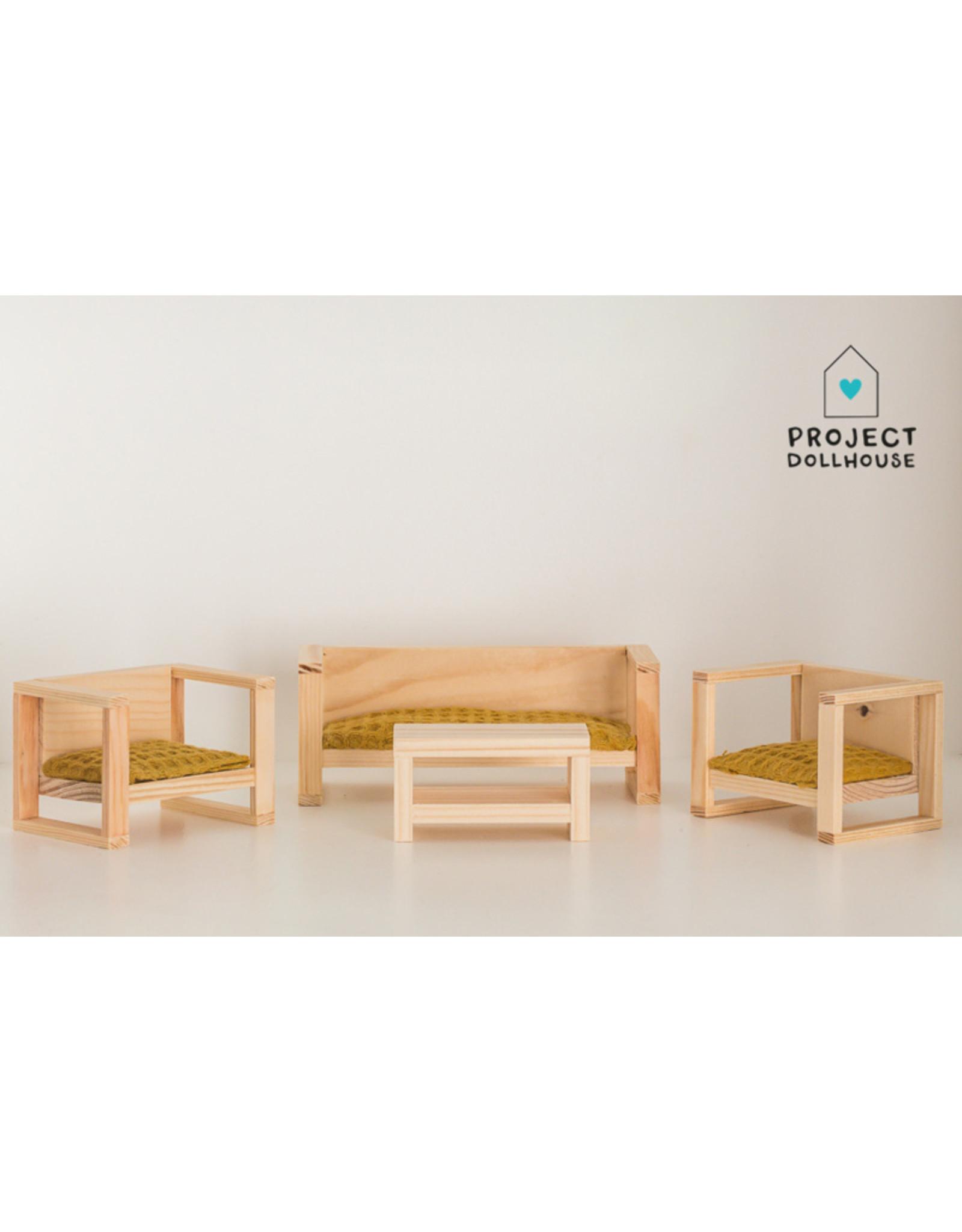 Project Dollhouse Modern loungeset Wood