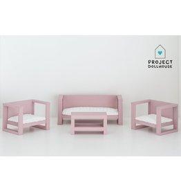 Project Dollhouse Zitkamer Set Oud Roze