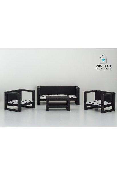 Modern Loungeset Black