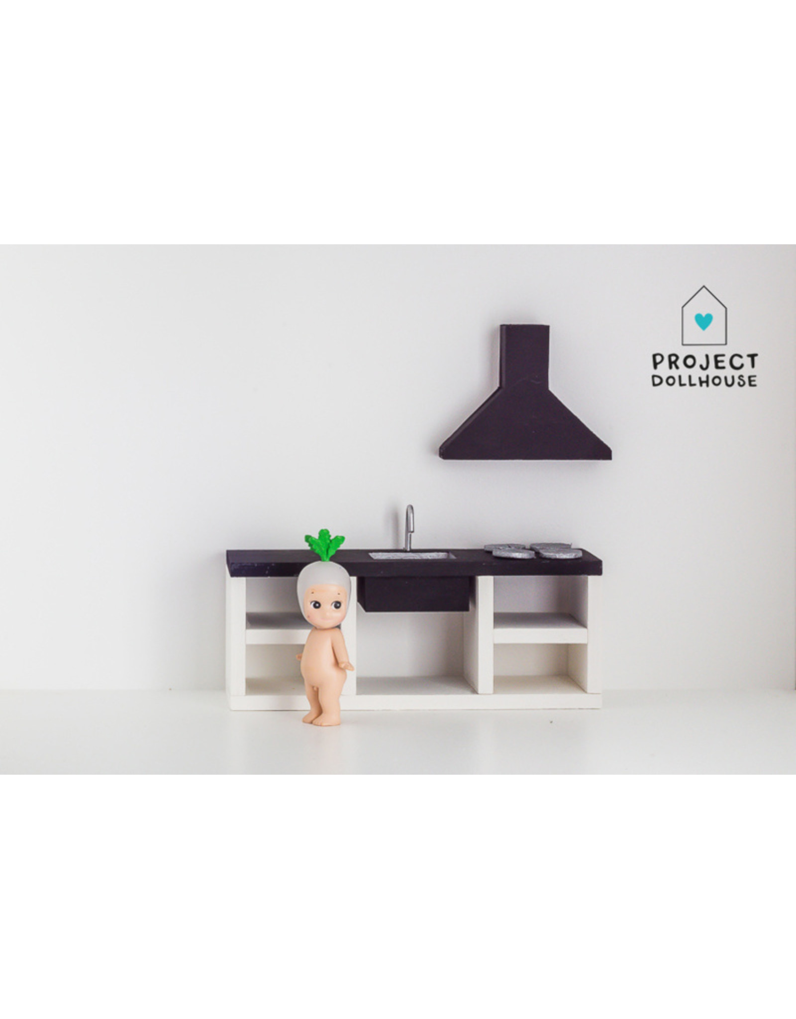 Project Dollhouse Keuken Zwart 18 cm