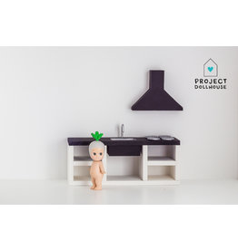 Project Dollhouse Modern Kitchen Black 18 cm