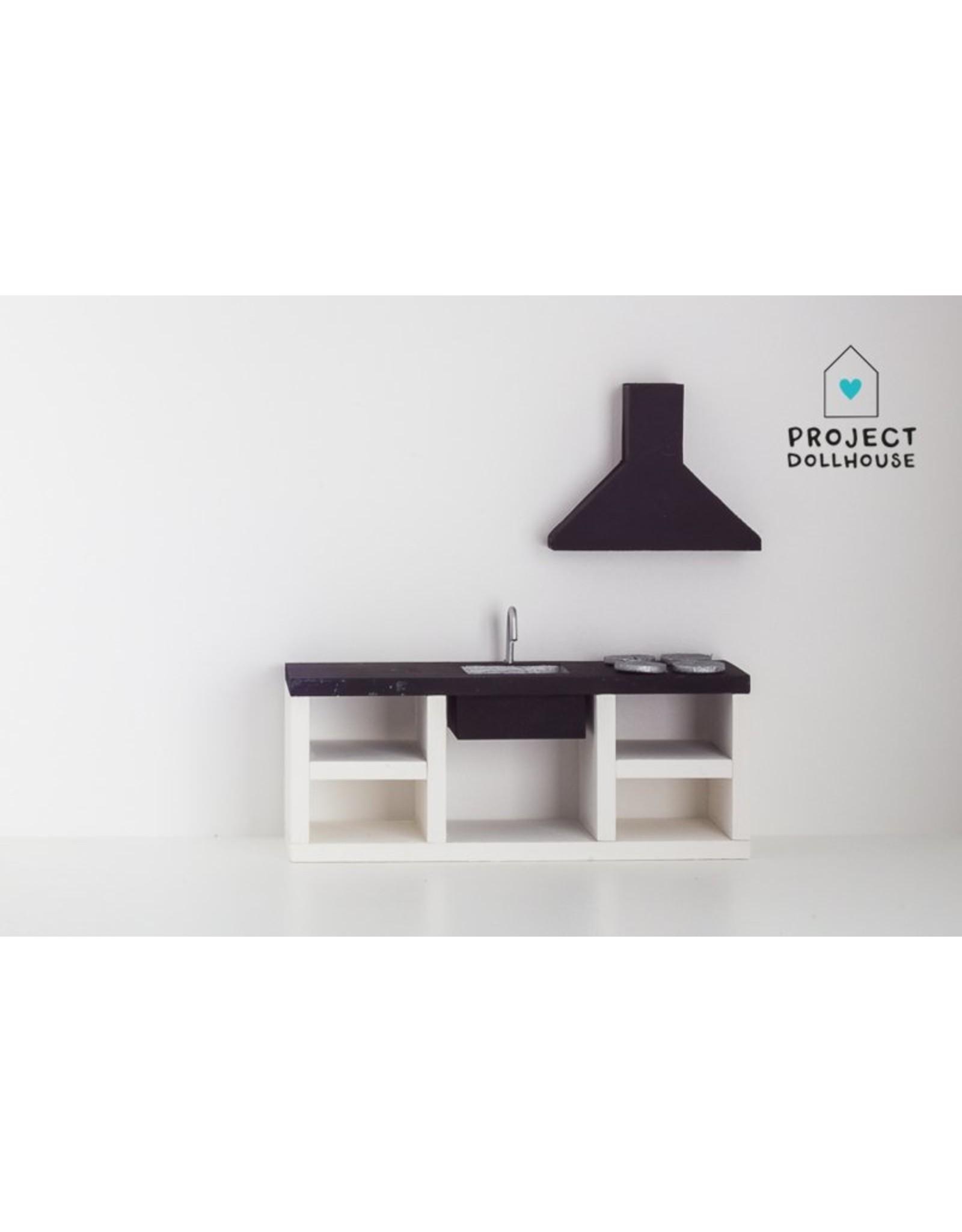 Project Dollhouse Modern Kitchen Black 18 cm