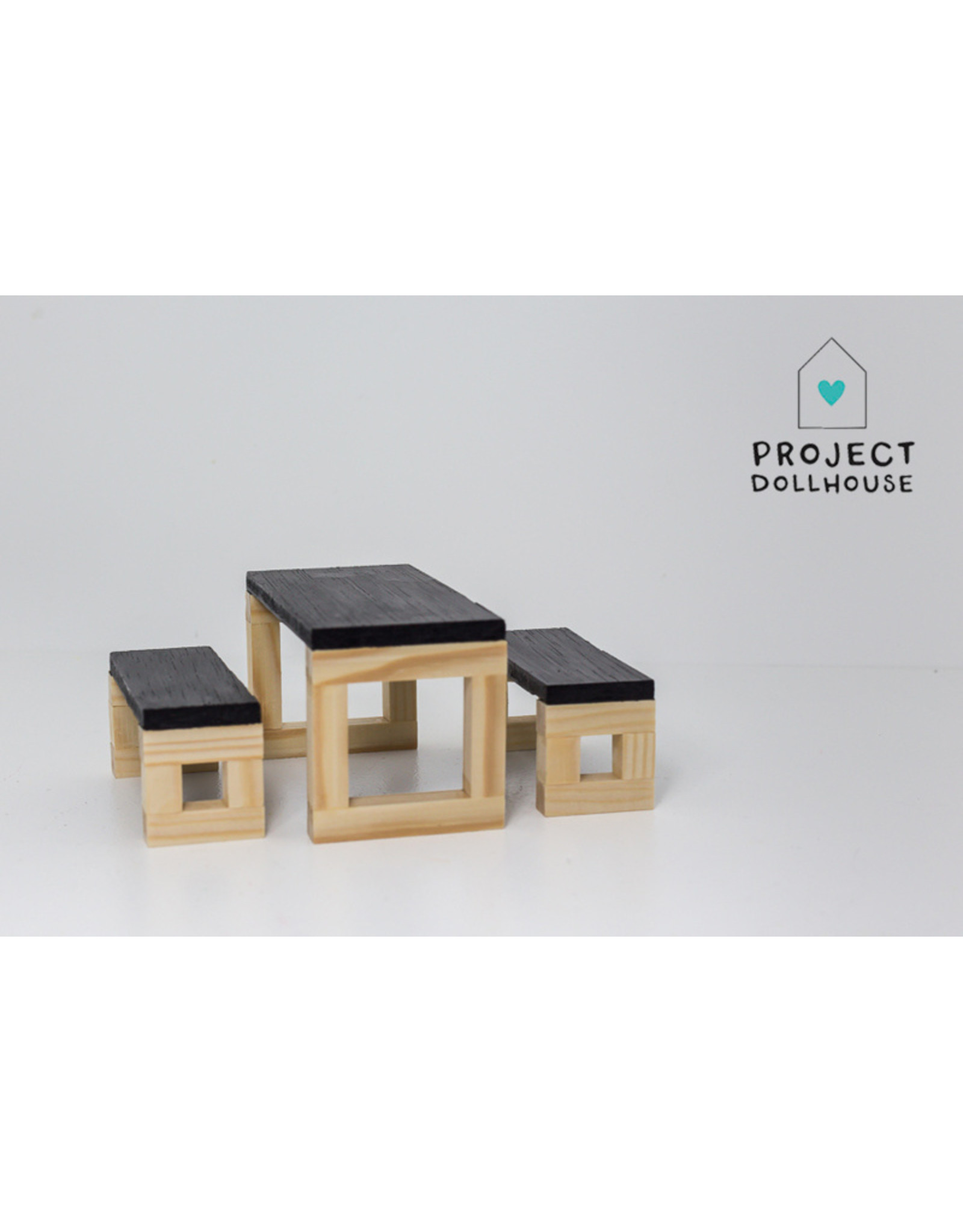 Project Dollhouse Modern Dining Table Set Wood