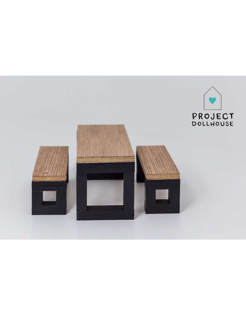 Sensational Project Dollhouse Modern Dining Set With Benches Black Pabps2019 Chair Design Images Pabps2019Com