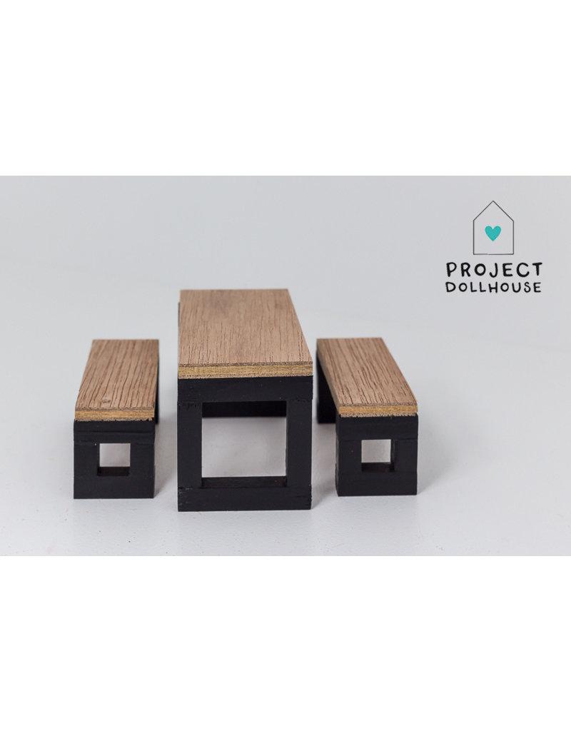 Project Dollhouse Moderne eettafel set zwart onderstel