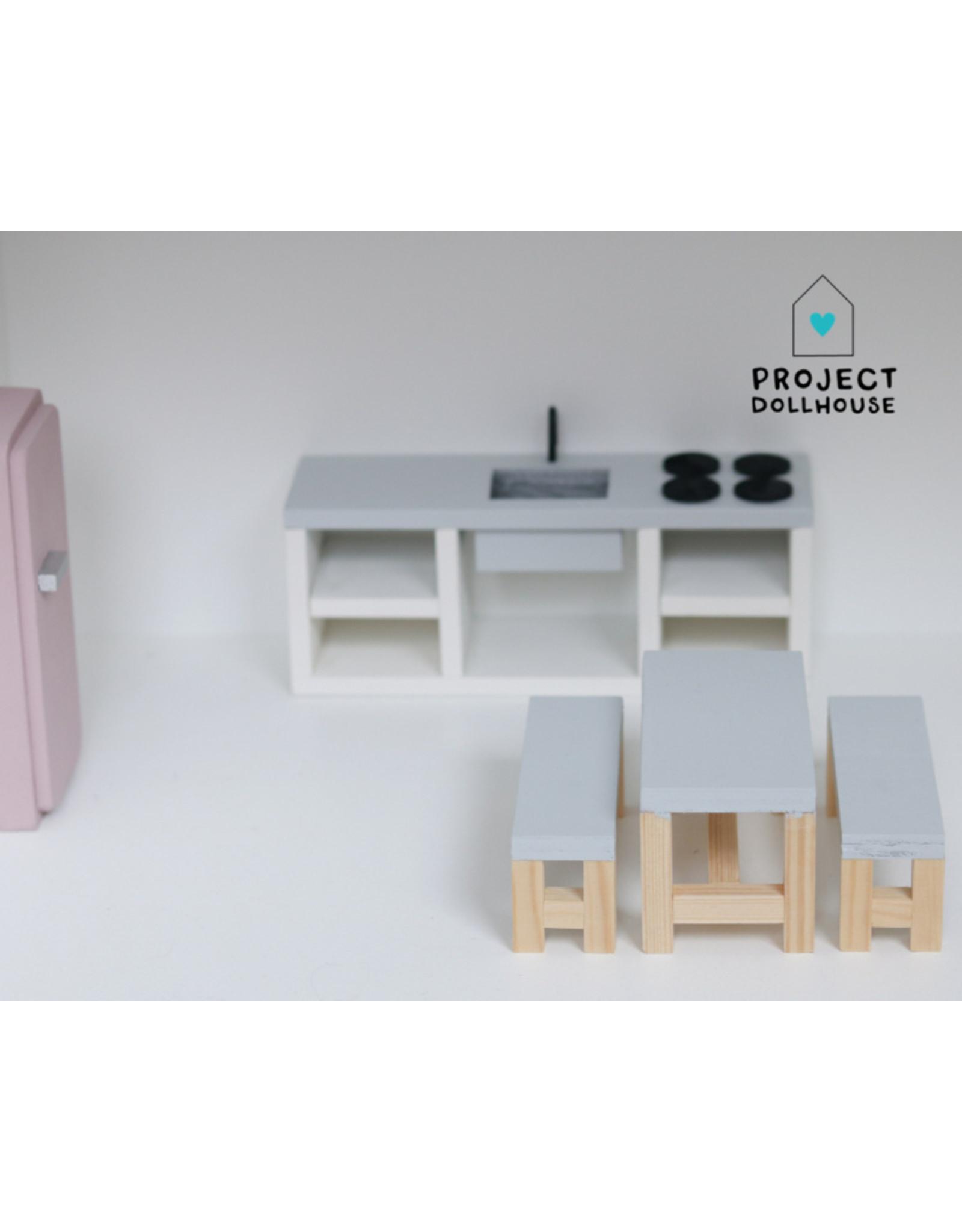 Project Dollhouse Eettafel Grijs met Bankjes