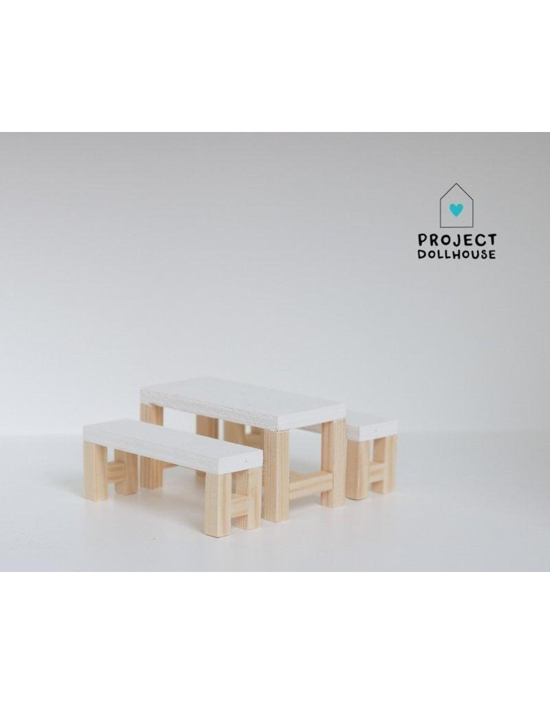 Wit Bankje Eettafel.Eettafel Wit Met Bankjes Project Dollhouse Project Dollhouse