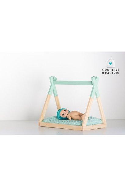 Tipi bed open model Mint green
