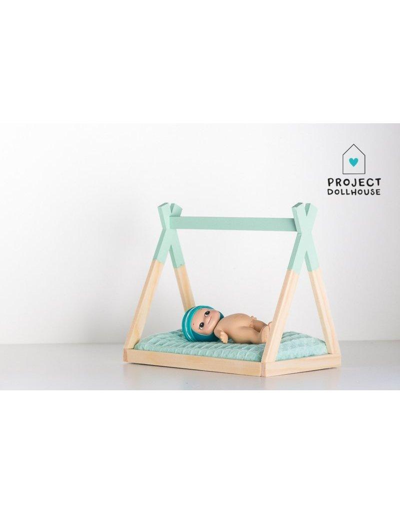 Project Dollhouse Tipi Bed Open Model Mintgroen