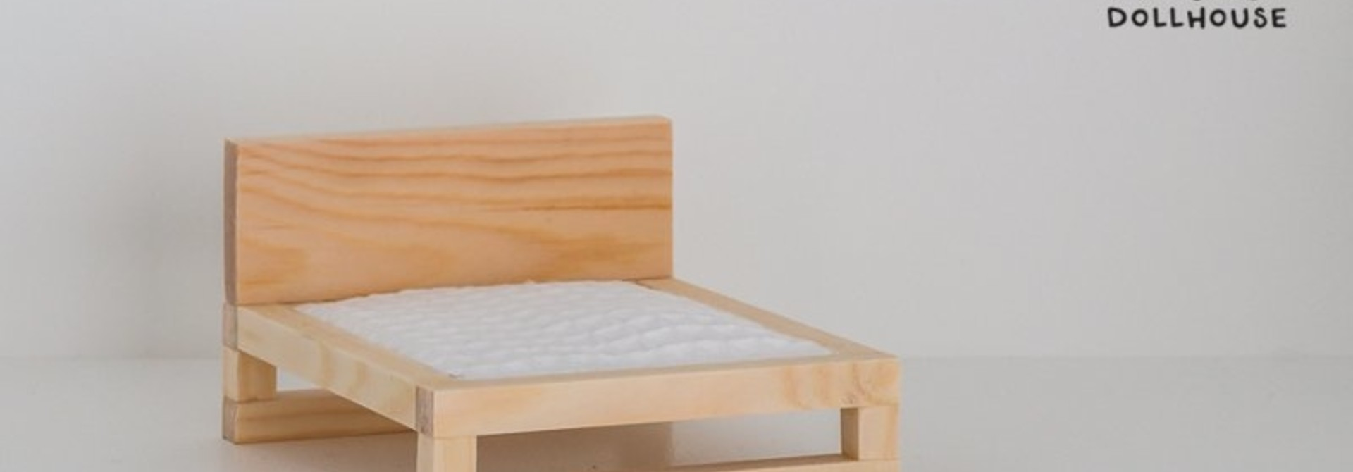 Natural wooden double bed