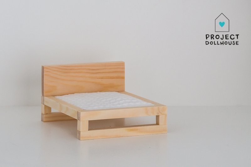 Natural wooden double bed-1