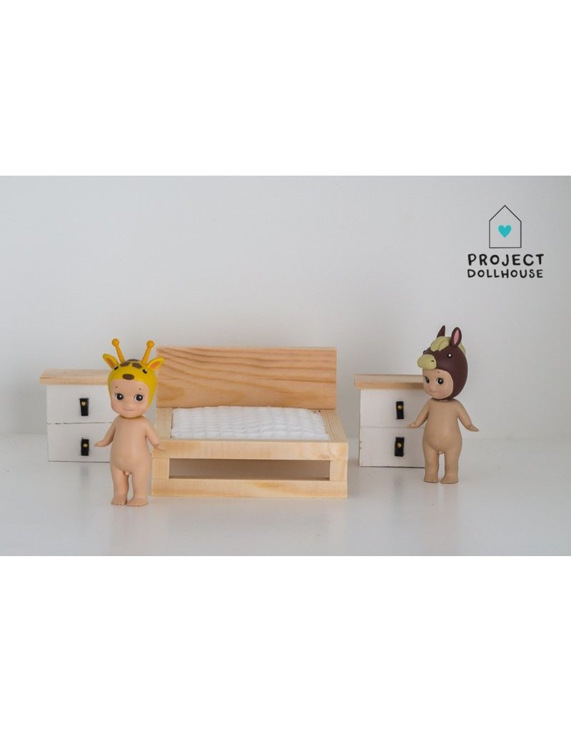 Project Dollhouse Natural wooden double bed