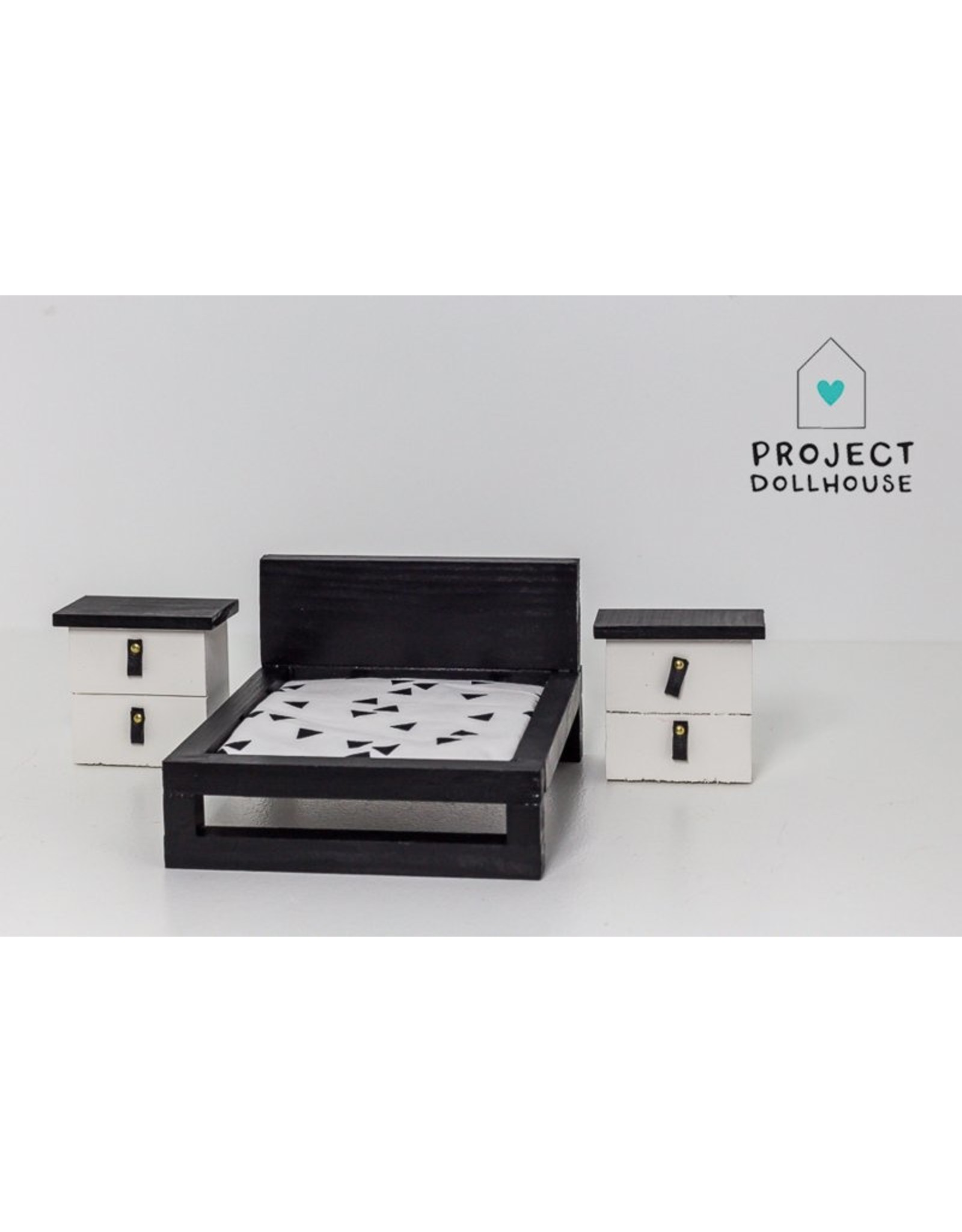 Project Dollhouse Set of two bedside tables black