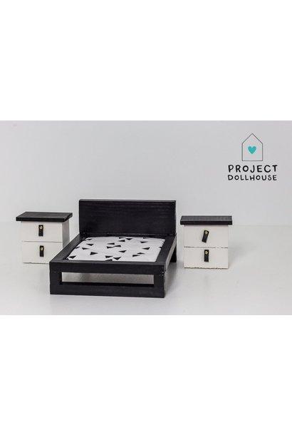 Set of two bedside tables black