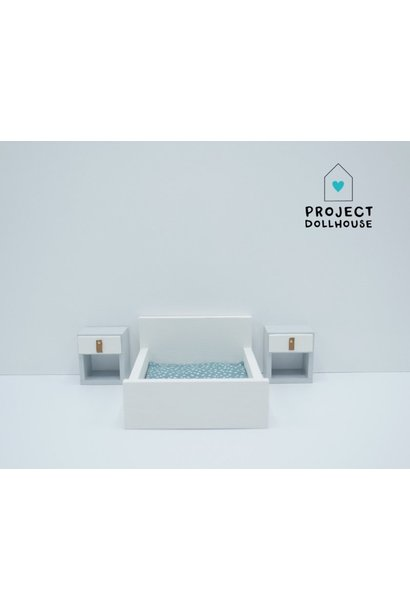 White Double bed closed model