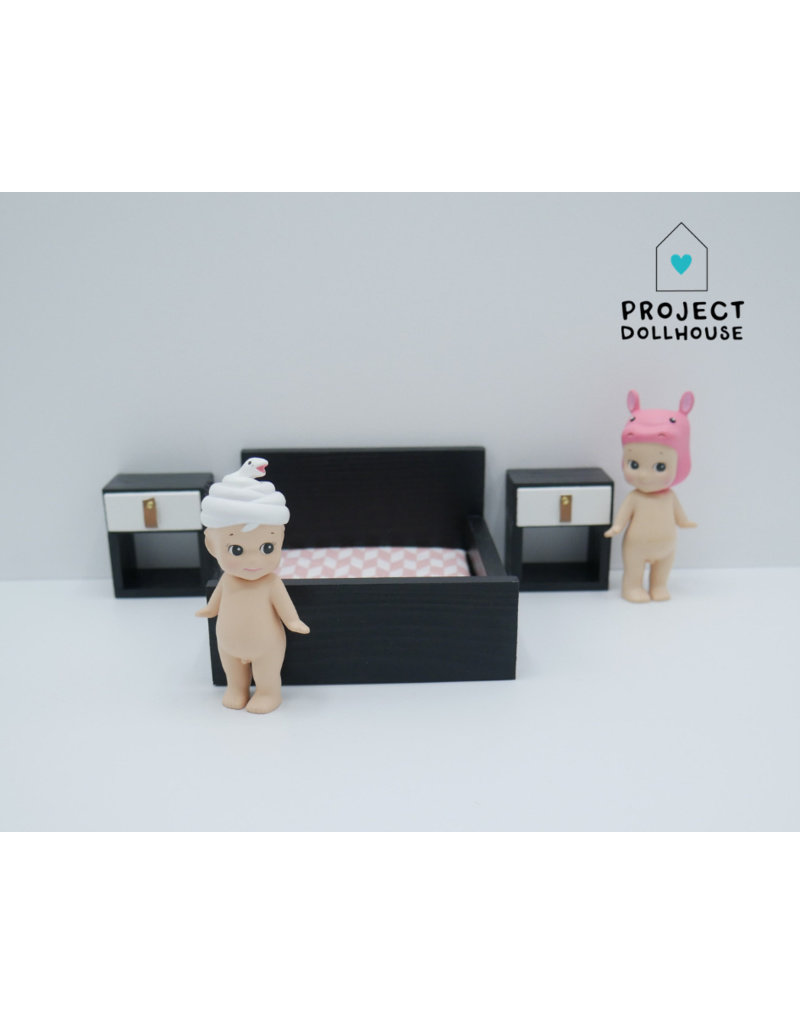 Project Dollhouse Black Double bed closed model