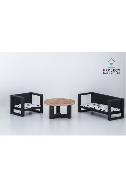 Bench and Chair with Coffee Table
