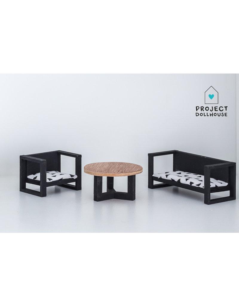 Project Dollhouse Bank en stoel met Salontafel