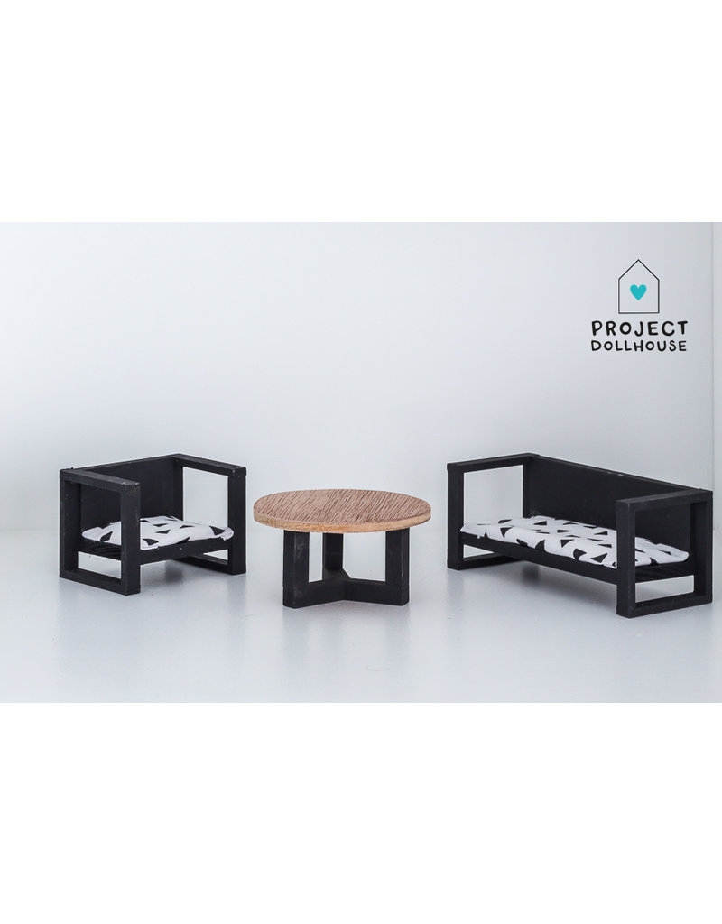 Project Dollhouse Bench and Chair with Coffee Table